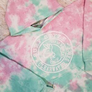 Surf Style Beach Pink Tie Dye Cropped Sweatshirt